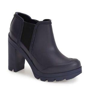 Hunter Original High Heel Ankle Rain Boots Blue
